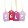 Colourful hanging sales tags violet