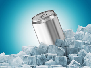 Can of Beer in Ice Cubes on blue background