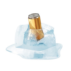 Can of Beer in Melting Ice Cube on white background