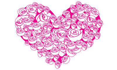 Rose flower in the heart shaped