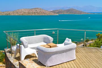 White sofas with Mirabello Bay view on Crete