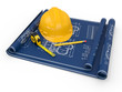 Construction concept. Hardhat, blueprint and rulers.