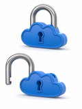 Cloud computing as padlock. Security concept