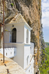 Monastery of Ostrog placed an vertical rock. Montenegro