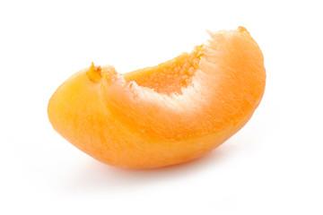 Slice apricots, isolated on white background