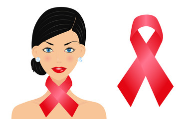 Beautiful woman with aids ribbon