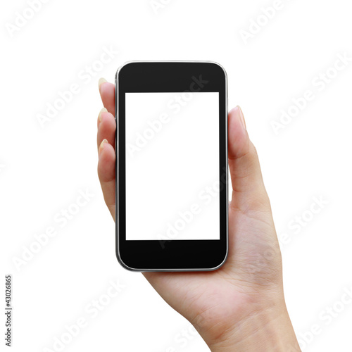 Modern mobile phone in a woman hand isolated