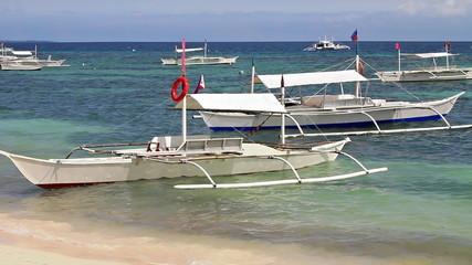 White boats near shore