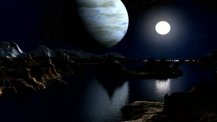 The gas giant and the moon against a fantastic landscape