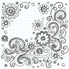 Flowers Sketchy Back to School Doodles Vector Set