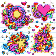 Flower Power Groovy Psychedelic Doodles Vector Set