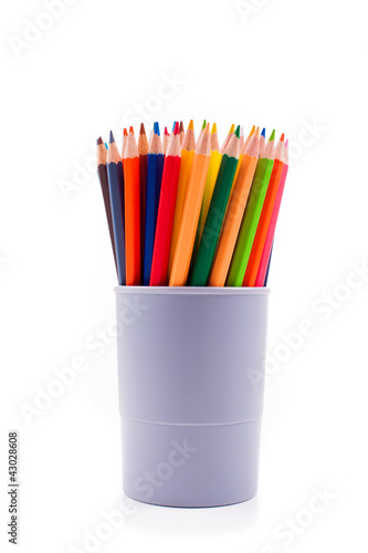 Various colour pencils isolated on the white