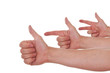Hände zeigen mit Handzeichen eins zwei drei