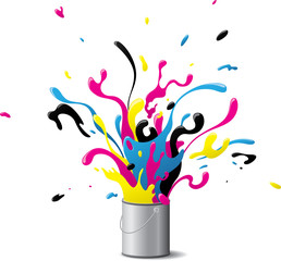 Explosive CMYK paint
