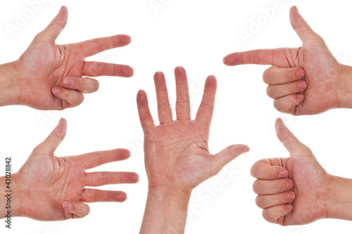 Hände zeigen eins zwei drei vier fünf