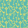 Yellow keys on blue, seamless pattern