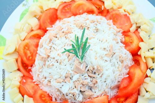 assiette, thon,riz ,tomates