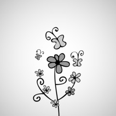 Pretty card with flowers doodle design