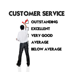 Customer service evaluation form with business man selecting the