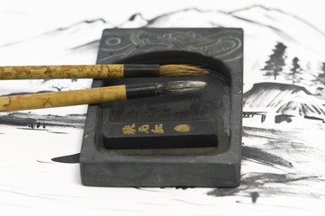 Chinese paintbrushes with ink