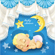 Blue baby shower card with sweet sleeping newborn baby