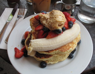 A Breakfast Plate of Pancakes and Fruit