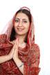 Namaste greeting graceful Indian female