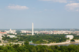 Washington D.C. aerial view with US Capitol, Washington Monument, Lincoln Memorial and Potomac River