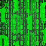 Abstract background of green digits on black