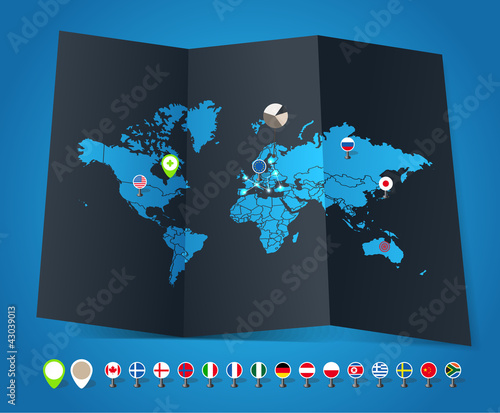 World map on old map and flags of different countries and symbol
