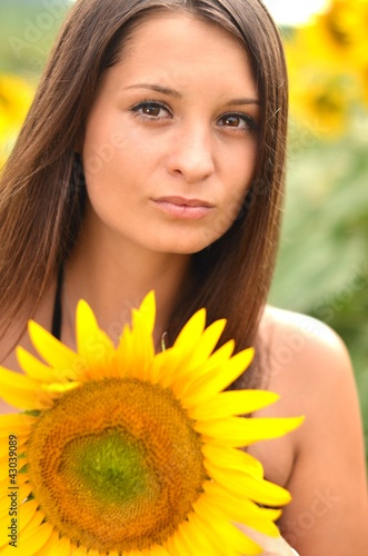 sexy girl with sunflowers
