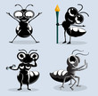 ants cartoon in various action