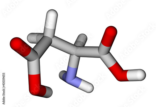 Amino acid aspartic acid 3D molecular model