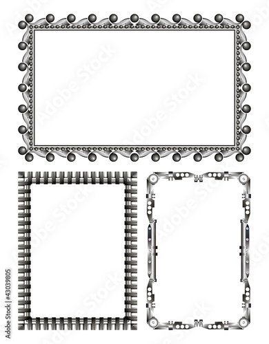 gray metal frames - vector set