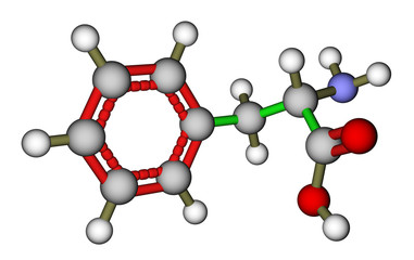 Essential amino acid phenylalanine 3D molecular structure