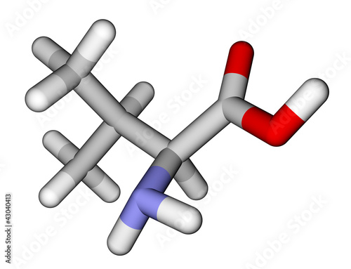 Essential amino acid valine 3D molecular model