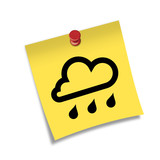 Post-it 3d con chincheta simbolo lluvia