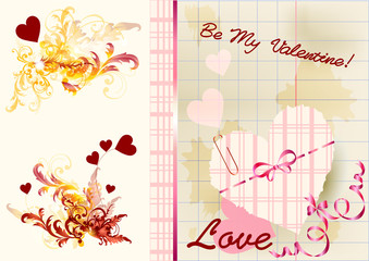 Greeting valentine card with space for text