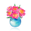 Peony Flowers Bouquet in Vase isolated on white background