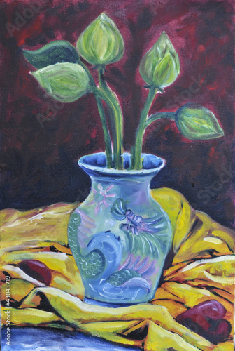 original oil on canvas still life lotus on vast