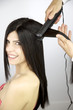 Female model getting long hair ironed