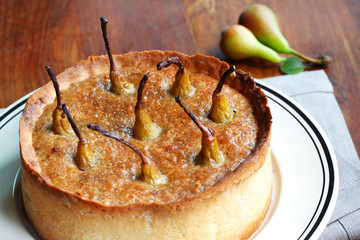Pie with pears and walnut filling, homemade