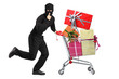 Robber pushing a cart with finger on his lips gesturing silence