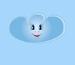 Smiling blue cloud illustration looking on sky background