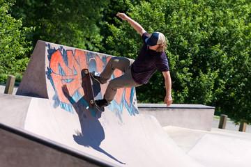 Skater Riding a Skate Ramp