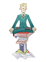 Businessman is meditating on the pyramid of documents