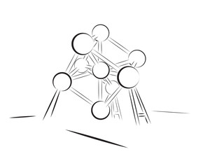 Silhouette of Atomium construction isolated on white