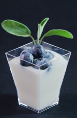 Yogurt alla salvia con mirtilli