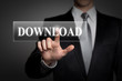 businessman pressing virtual button - download