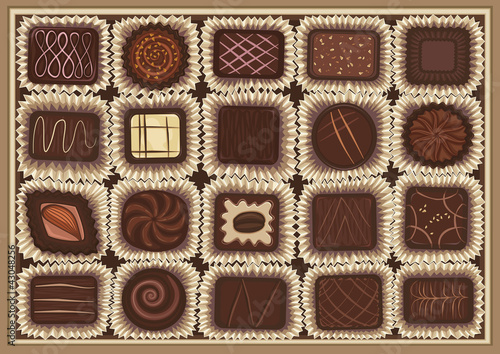 Vector illustration of assortment of chocolates in a box